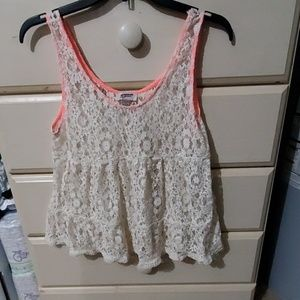 Juniors size LG lacy tank top